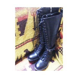 Leather lace up boots knee high Made in Italy